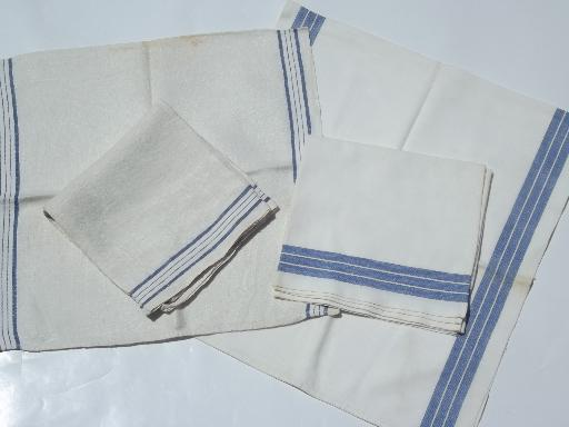 Rustic Farmhouse Kitchen Towels, Vintage Blue Stripe Linen U0026 Cotton Towel  Lot