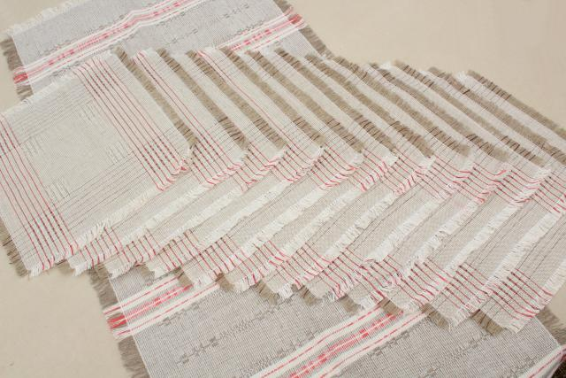 Rustic Farmhouse Vintage Flax Linen Hand Woven Table