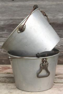 rustic farmhouse vintage metal buckets, 1930s depression era aluminum farm pails