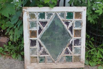 rustic farmhouse vintage stained glass window chippy wood colored glass