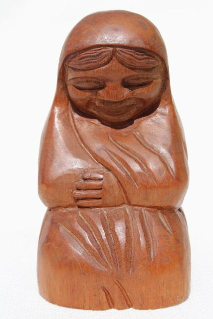 rustic hand carved wood Madonna, statue of Mary, vintage Mexico lady w/ veil praying