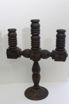rustic hand carved wood candelabra or altar candlestick, old Mexico 70s vintage