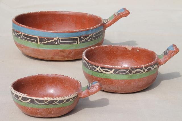 & rustic handcrafted Mexican pottery set of hand painted terracotta bowls