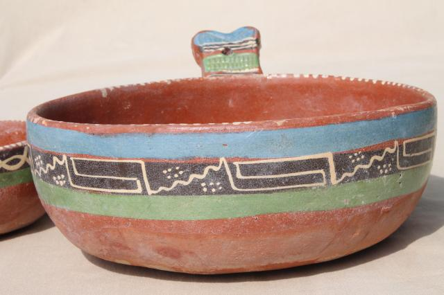 Rustic Handcrafted Mexican Pottery Set Of Hand Painted