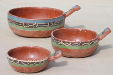 rustic handcrafted Mexican pottery, set of hand painted terracotta bowls