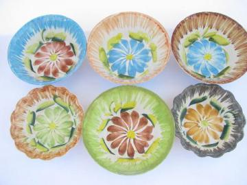 rustic hand-painted pottery bowls w/ big flowers, vintage Italy? old Mexico?