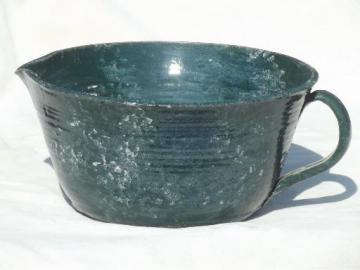 rustic hand-thrown pottery pitcher, large mixing bowl w/ pouring spout