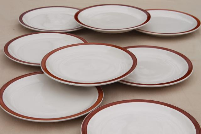 rustic heavy ironstone dinner plates w/ brown brushstroke border Ultima restaurant china & rustic heavy ironstone dinner plates w/ brown brushstroke border ...