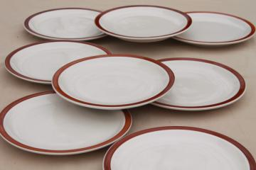 rustic heavy ironstone dinner plates w/ brown brushstroke border, Ultima restaurant china