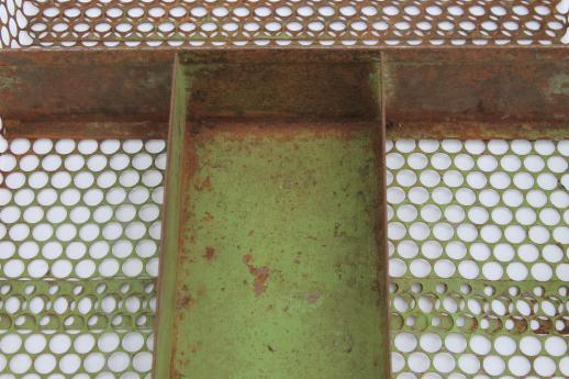 rustic industrial drawer divider tray, chicken wire punched metal - kitchen utensil / knife box