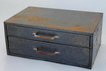 rustic industrial vintage metal drawers hardware storage box w/ divided sorting trays