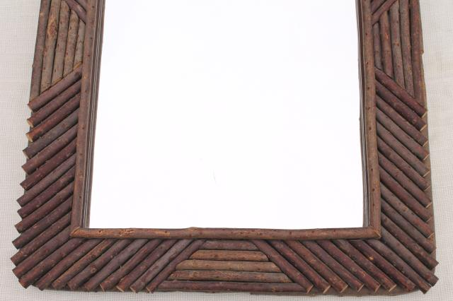 rustic natural twig frame large mirror, vintage camp lodge cabin adirondack style
