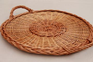 rustic natural wicker basket tray, serving tray w/ handles, holds a large deli platter or pizza