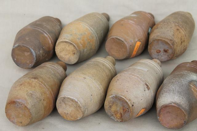 rustic old French country wine label stoneware bottles, vintage Portugal pottery