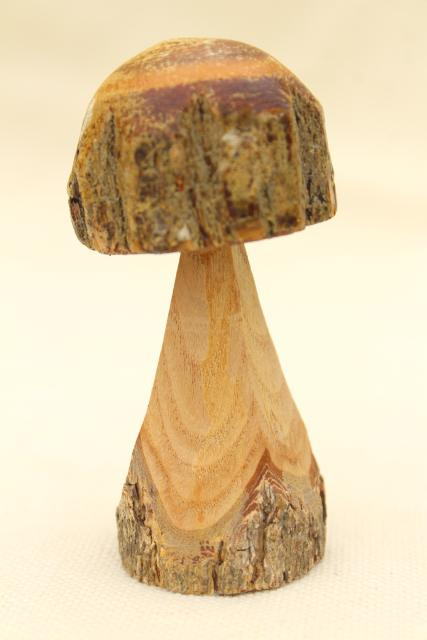 rustic old carved wood mushrooms w/tree bark, fairy garden mini chainsaw carving art