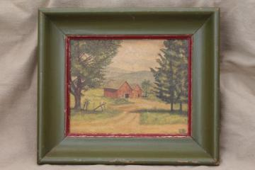 rustic old painted wood frame w/ vintage print, primitive red barn picture