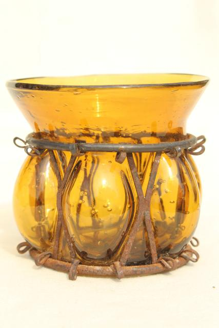 Rustic Old Rusty Iron Hand Blown Colored Glass Vase