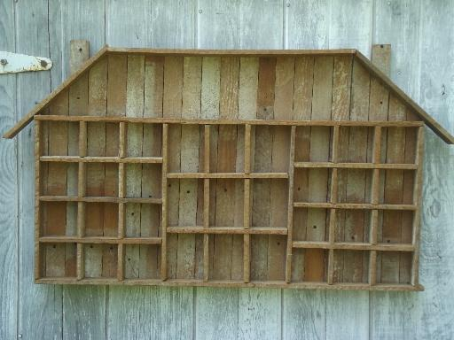Rustic Old Salvaged Wood Wall Shelf Shadow Box Type Case