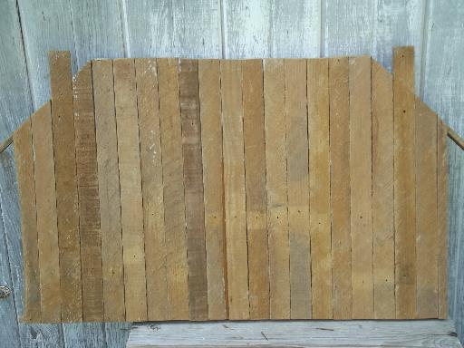 rustic old salvaged wood wall shelf shadow box, type case style display
