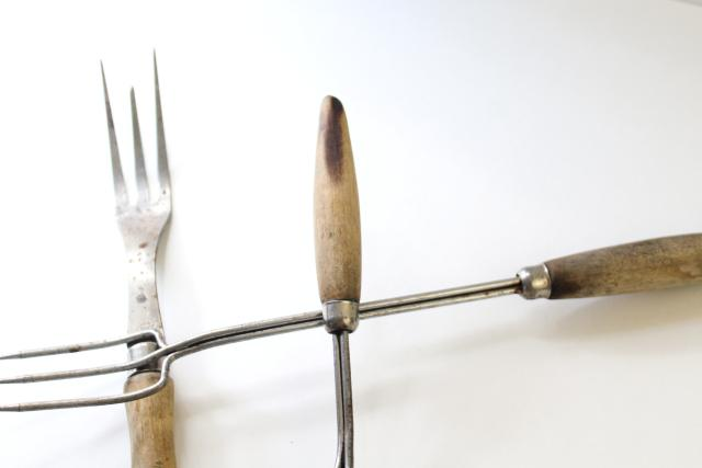 rustic old toasting forks & unusual meat fork, antique vintage kitchen utensils