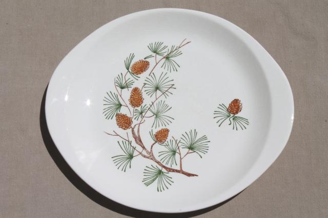 rustic pine cone pinecones china cake plate or platter mid-century vintage & rustic pine cone pinecones china cake plate or platter mid-century ...