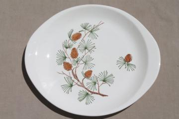 rustic pine cone pinecones china cake plate or platter, mid-century vintage