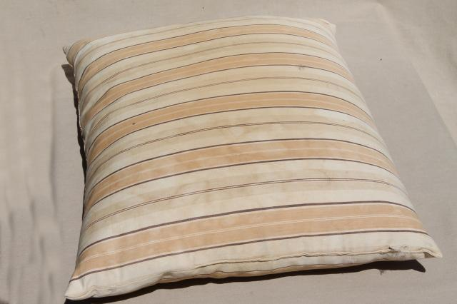 rustic primitive vintage feather pillows w/ old wide brown striped ticking