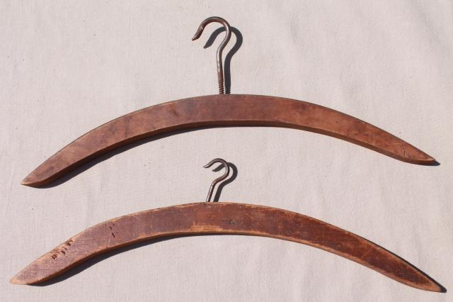 rustic primitive vintage make do wood clothes hangers w/ large hooks