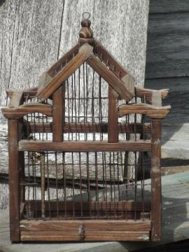 rustic primitive wood & wire bird cage, small birdcage for display