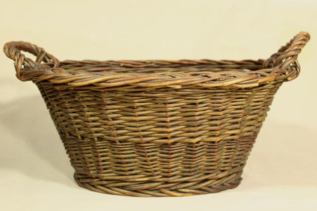 rustic primitive woven basket, childs size vintage wicker laundry basket