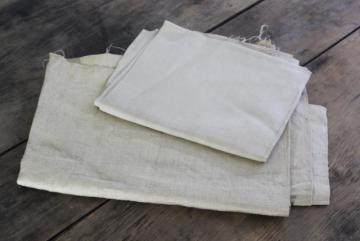 rustic pure linen fabric, natural flax color vintage remnants for needlework or samplers