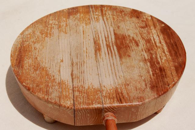 rustic rough round wood cheese or bread board, Nevco cutting board w/ wooden handle