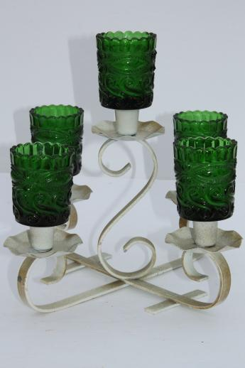 Rustic Shabby Vintage Christmas Wrought Iron Centerpiece W Green Glass Votive Candle Holders
