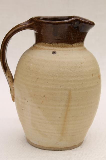 rustic stoneware pitcher, large milk jug in brown glazed clay, handmade studio pottery