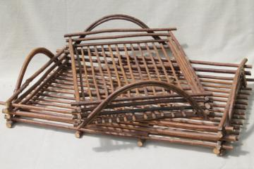 rustic twig trays w/ natural tree bark, serving tray set made in Spain