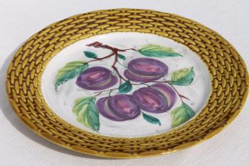 rustic vintage Italian ceramic serving plate, round platter tray w/ hand painted plums