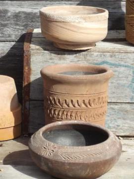 rustic vintage Italian pottery garden pots, terracotta planters lot