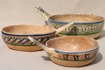 rustic vintage Mexican art pottery set of stick handled bowls, hand painted clay pots