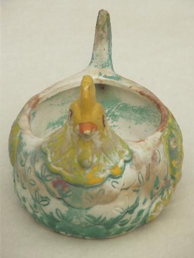 rustic vintage Mexican pottery chicken, yellow / turquoise painted hen