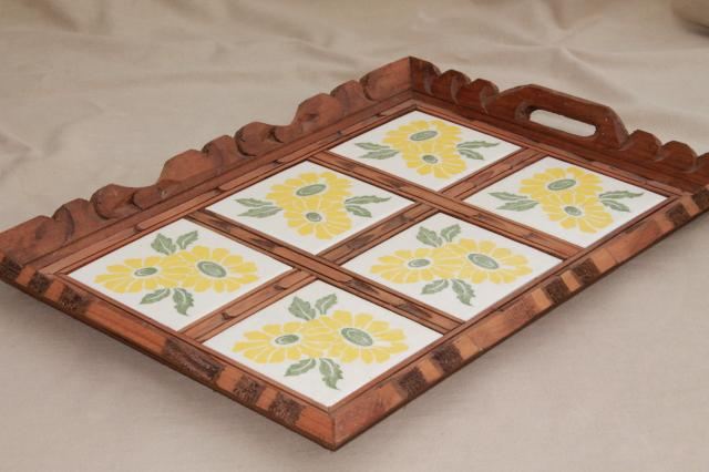 Rustic Vintage Mexican Pottery Sunflower Tile Tray Tiled W Carved Wood Frame