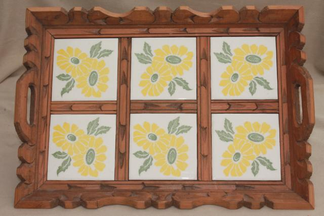 rustic vintage Mexican pottery sunflower tile tray, tiled tray w/ carved wood frame