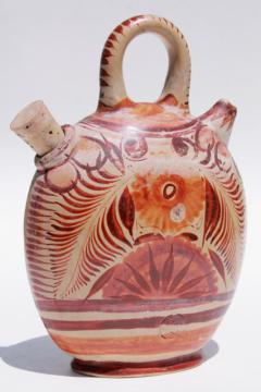 rustic vintage Mexican pottery water bottle or wine jug, flat canteen shape painted earth colors