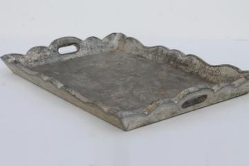 rustic vintage Mexican tooled tin tray w/ lovely worn patina, zinc color