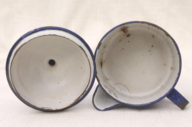 rustic vintage blue spatter enamelware camp cooking pot, one cup tiny teapot mug w/ lid