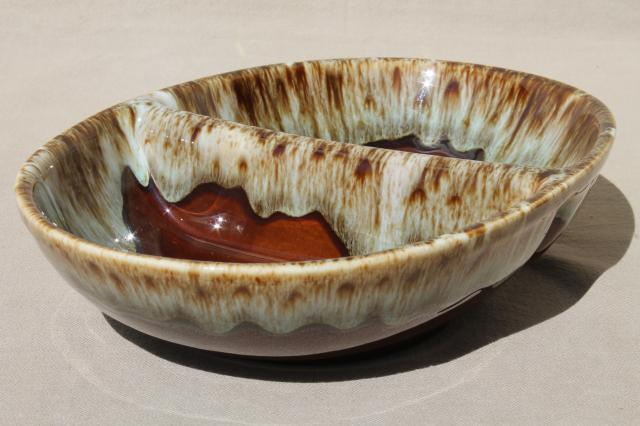 rustic vintage brown / green drip pottery, ceramic casserole & bowl Rawhide Harker china