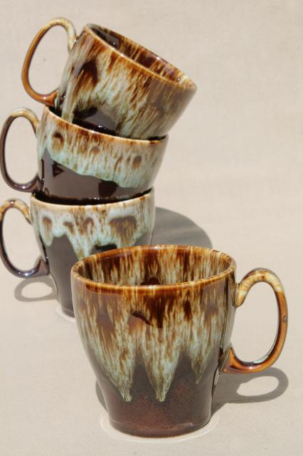 Rustic Vintage Brown Green Drip Pottery Coffee Mugs Set