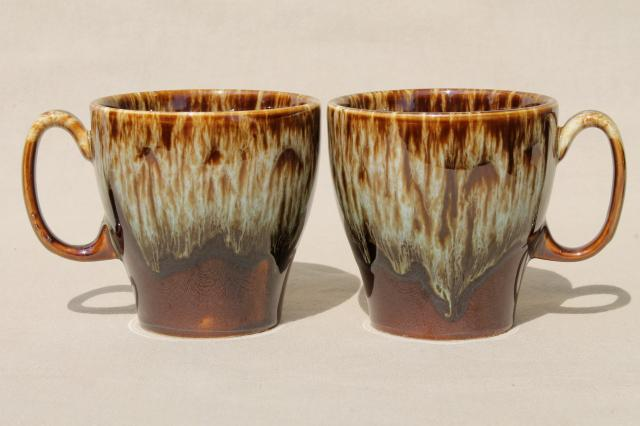rustic vintage brown / green drip pottery coffee mugs, set of four cups Rawhide Harker china