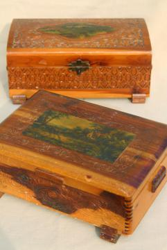 rustic vintage cedar wood keepsake boxes, shabby chic cottage print jewelry boxes