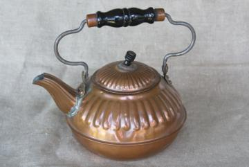 rustic vintage copper teakettle, old fashioned tea pot kitchen stove kettle