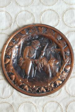 rustic vintage copper wall plaque plate or flue cover, hunter & retriever dog